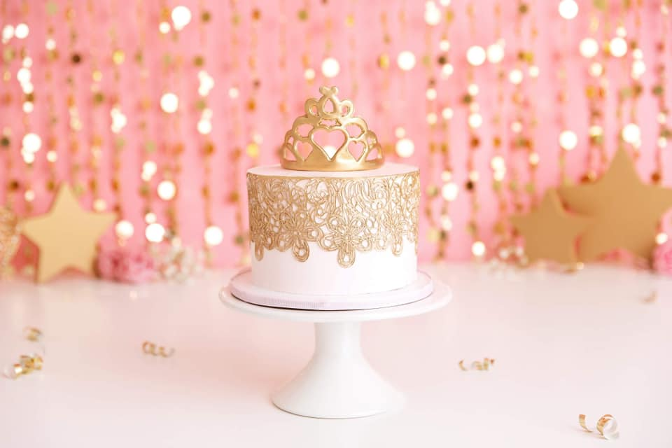 Clearwater Fl,  Custom Pink and Gold Princess Smash Cake