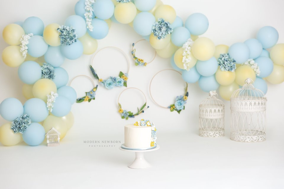 Clearwater Fl,  Custom Yellow and Blue flower Smash Cake